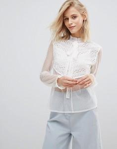 Полупрозрачная блузка с завязкой и рюшами Willow And Paige - Белый