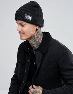Черная шапка-бини в рубчик с логотипом The North Face - Черный