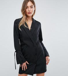 Платье в тонкую полоску с завязками на рукавах Missguided Tall - Черный