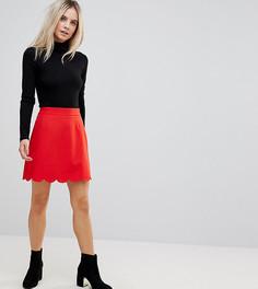 Мини юбка-трапеция с фактурной отделкой по краю ASOS PETITE - Красный