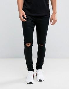 Черные супероблегающие джинсы с рваными коленками Sixth June - Черный