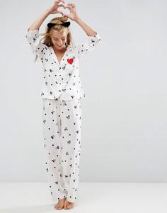 Пижамный комплект с принтом Микки-Мауса и вышитым сердечком ASOS - Мульти
