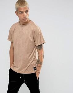 Серовато-бежевая футболка-оверсайз из искусственной замши Sixth June - Светло-бежевый