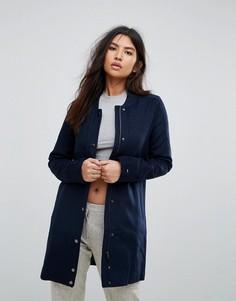 Длинное пальто с добавлением шерсти Tommy Hilfiger Denim - Темно-синий