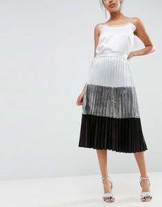 Плиссированная юбка миди в стиле колор блок с эффектом металлик ASOS - Мульти
