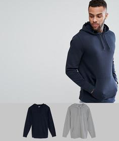 Набор из 2 худи удлиненного кроя (серый меланж/темно-синий) ASOS - Мульти