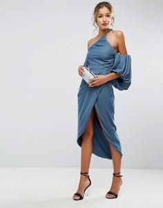 Бархатное платье миди на одно плечо ASOS - Синий