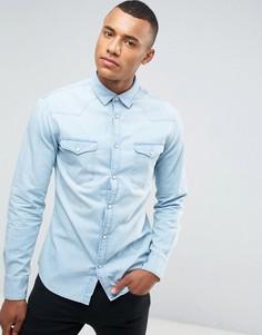 Выбеленная джинсовая рубашка Celio - Синий