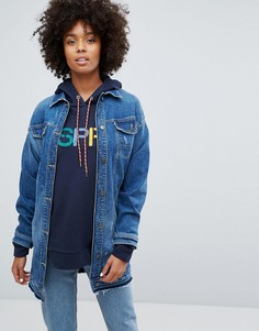 Длинная джинсовая куртка Eco Edit Esprit - Синий