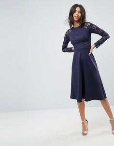 Приталенное платье миди с кружевными вставками ASOS Premium - Темно-синий