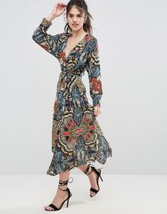 Платье миди с запахом и цветочным принтом Uttam Boutique - Темно-синий