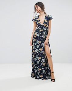 Платье макси с запахом и цветочным принтом Uttam Boutique - Темно-синий