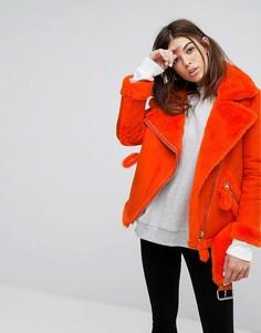 Оверсайз-куртка с подкладкой из искусственного меха Story Of Lola - Оранжевый