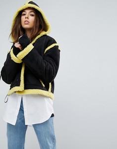 Оверсайз-куртка с подкладкой из искусственного меха Story Of Lola - Черный