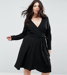 Платье с длинными рукавами, запахом и поясом Uttam Boutique Plus - Черный