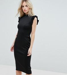 Платье-футляр миди с вырезом на спине ASOS PETITE - Черный