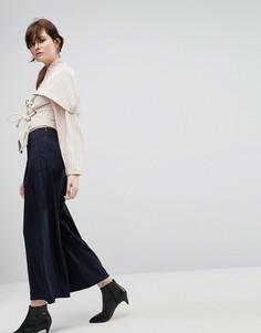 Широкие брюки ASOS WHITE - Темно-синий