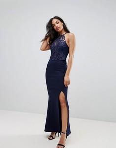 Платье макси с кружевом Lipsy - Темно-синий
