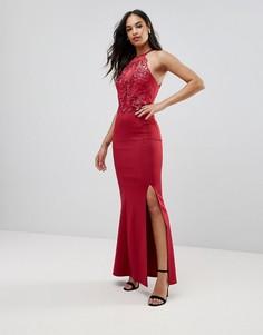 Платье макси с кружевной отделкой и разрезом Lipsy - Красный