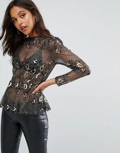 Прозрачная блузка с эффектом металлик и кружевом Missguided - Черный