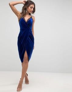 Бархатное платье миди с кружевной отделкой ASOS - Синий