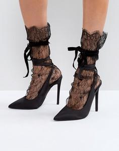Кружевные носки с бантиками ASOS - Черный