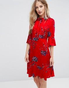 Платье с расклешенными рукавами и цветочным принтом Max&Co Penna - Красный