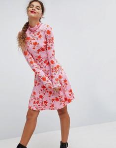 Платье мини с воротником поло и цветочным принтом ASOS - Мульти