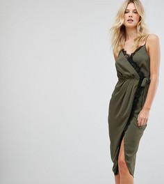 Атласное платье миди на бретелях с запахом и кружевной отделкой ASOS TALL - Зеленый