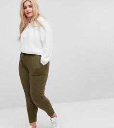 Широкие брюки в стиле милитари со складками и сборками на талии ASOS CURVE - Зеленый