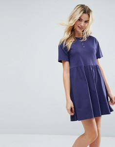 Свободное платье мини с планкой на пуговицах ASOS - Синий