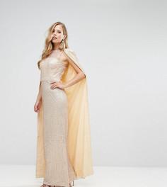 Платье макси с пайетками и кейпом Bariano - Золотой