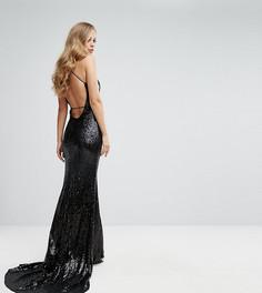 Платье с открытой спиной и шлейфом Bariano - Черный