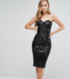 Платье миди с пайетками и глубоким вырезом сердечком Bariano - Черный