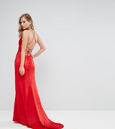 Драпированное атласное платье макси со шнуровкой на спине Bariano - Красный