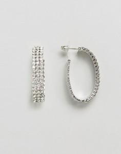 Серебристые серьги-кольца со стразами DesignB London - Серебряный