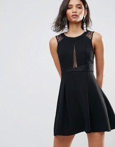 Короткое приталенное платье с кружевными вставками BCBG - Черный