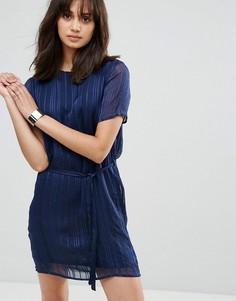 Полупрозрачное платье с завязкой на талии Pieces Elja - Темно-синий