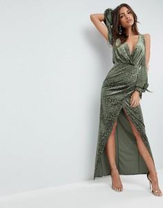 Платье макси с открытыми плечами ASOS - Зеленый