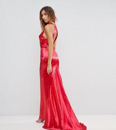 Платье макси с американской проймой, юбкой-годе и открытой спиной Jarlo Tall - Красный