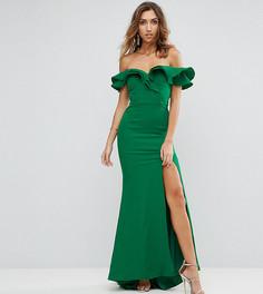 Платье макси с открытыми плечами, оборкой и разрезом Jarlo Tall - Зеленый
