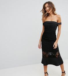 Платье миди с кружевной вставкой и открытыми плечами Jarlo Tall - Черный