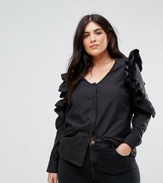 Блузка с оборками на рукавах Boohoo Plus - Черный