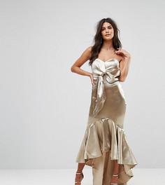 Платье миди с запахом, широким вырезом и асимметричным краем Jarlo - Золотой