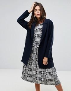 Шерстяное пальто с необработанным краем YMC - Темно-синий
