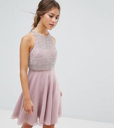 Короткое приталенное платье с укороченным топом и отделкой ASOS PETITE - Розовый