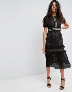 Платье миди с короткими рукавами и вставкой кроше Boohoo - Черный