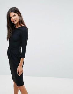 Платье с V-образным вырезом на спине и блестящей отделкой Closet - Черный