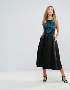 Короткое приталенное платье с принтом Closet - Мульти