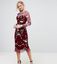 Бархатное платье-футляр премиум с отделкой бусинами по краю Frock And Frill Tall - Красный